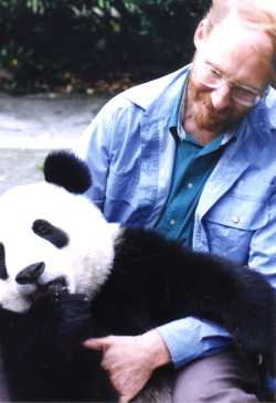 photo of Geoffrey A. Landis with a giant panda